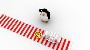 3d penguin worried and looking at email icon symbol which is about to crush by mechanical gear concept Stock Photo