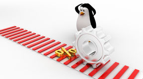 3d penguin worried and looking at percentage symbol which is about to crush by mechanical gear concept Royalty Free Stock Photos