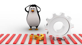 3d penguin worried and looking at question mark symbol which is about to crush by mechanical gear concept Stock Photo