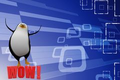 3d Penguin With Wow Text Illustration Royalty Free Stock Photo