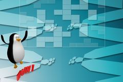 3d Penguin With Wow Text Illustration Royalty Free Stock Images