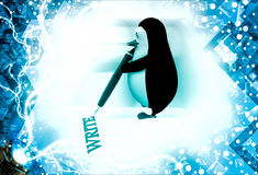 3d penguin write with red pen illustration Royalty Free Stock Photos