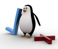3d penguin with wrong and right symbol concept Stock Photo