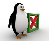 3d penguin with wrong or uncheck green symbol concept Royalty Free Stock Photos