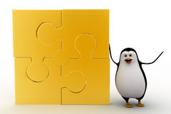 3d penguin yellow four connected puzzle pieces concept Royalty Free Stock Photo