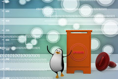 3d penguins approved concept Illustration Royalty Free Stock Image