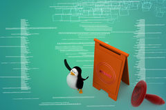 3d penguins approved concept Illustration Royalty Free Stock Photo