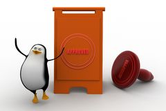 3d penguins approved concept Royalty Free Stock Photography