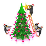 3d Penguins decorate the Christmas tree Royalty Free Stock Photo