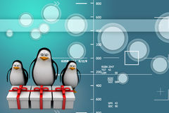 3d penguins with gifts Illustration Stock Photos