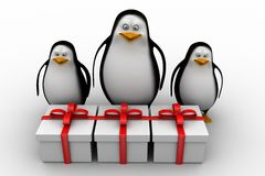 3d penguins with gifts Stock Image