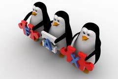 3d penguins holding fax text  written on puzzle pieces concept Stock Images