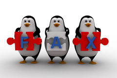 3d penguins holding fax text  written on puzzle pieces concept Royalty Free Stock Images