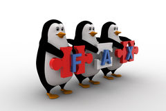3d penguins holding fax text  written on puzzle pieces concept Royalty Free Stock Image