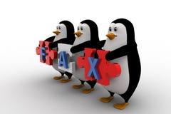 3d penguins holding fax text  written on puzzle pieces concept Stock Photo
