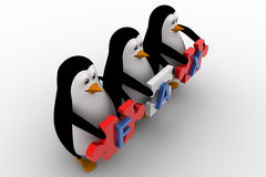 3d penguins holding fax text  written on puzzle pieces concept Royalty Free Stock Photos