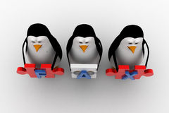 3d penguins holding fax text  written on puzzle pieces concept Royalty Free Stock Photo