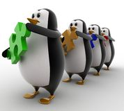 3d penguins in line with puzzles in hand concept Stock Images