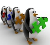 3d penguins in line with puzzles in hand concept Royalty Free Stock Photos