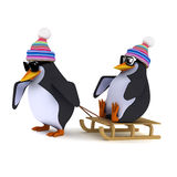 3d Penguins playing on a sled Royalty Free Stock Photography