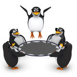 3d Penguins playing with a trampoline Stock Images