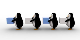 3d penguins in queue and holding square cubes concept Stock Image