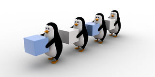 3d penguins in queue and holding square cubes concept Stock Photo