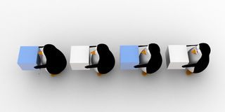 3d penguins in queue and holding square cubes concept Royalty Free Stock Photo