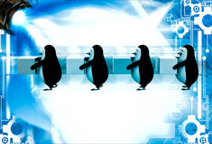3d penguins in queue and holding square cubes illustration Stock Image
