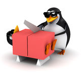 3d Penguins saws his friend in half Royalty Free Stock Photo
