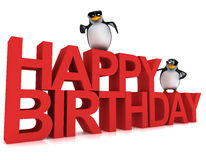 3d Penguins say Happy Birthday Stock Images