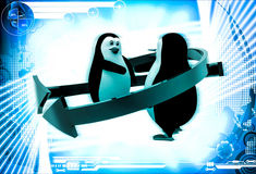3d penguins shaking hand  and two arrows around them illustration Royalty Free Stock Images