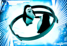 3d penguins shaking hand  and two arrows around them illustration Stock Photography