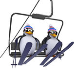 3d Penguins on a ski lift Stock Photo