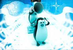 3d penguins with speaker and disturbance illustration Royalty Free Stock Photo