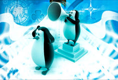 3d penguins with speaker and disturbance illustration Stock Images