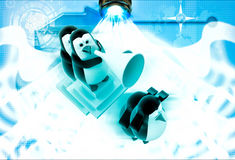 3d penguins with speaker and disturbance illustration Stock Photos