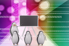 3d penguins teaching students illustration Royalty Free Stock Image