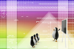 3d penguins teaching students illustration Stock Images