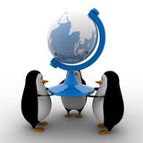 3d penguins team carry model of earth concept Royalty Free Stock Photos