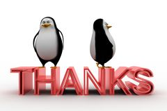 3d penguins with thanks text Stock Photo