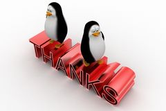 3d penguins with thanks text Royalty Free Stock Photos