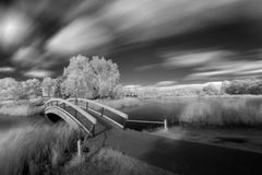 A.D. Penner Park view. Infrared shot of A.D. Penner Park in Steinbach, Manitoba, Canada royalty free stock image