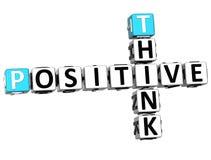 3D pensam palavras cruzadas positivas Fotografia de Stock