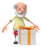 The 3D pensioner with a gift Stock Image