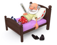 3d pensioner is ill Royalty Free Stock Photography