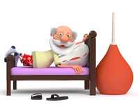 3d pensioner is ill. Incurably sick person lying on a hospital bed with a thermometer Stock Images