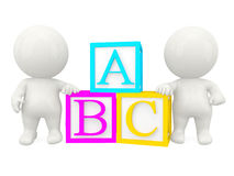 3D people with ABC cubes Royalty Free Stock Photography