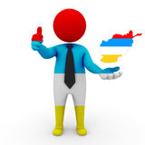 3d people Afshar businessman - map flag of Afghanistan-Afshar. Afshar in Afghanistan royalty free stock photography
