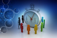 3d people around the clock, time management concept Stock Photo